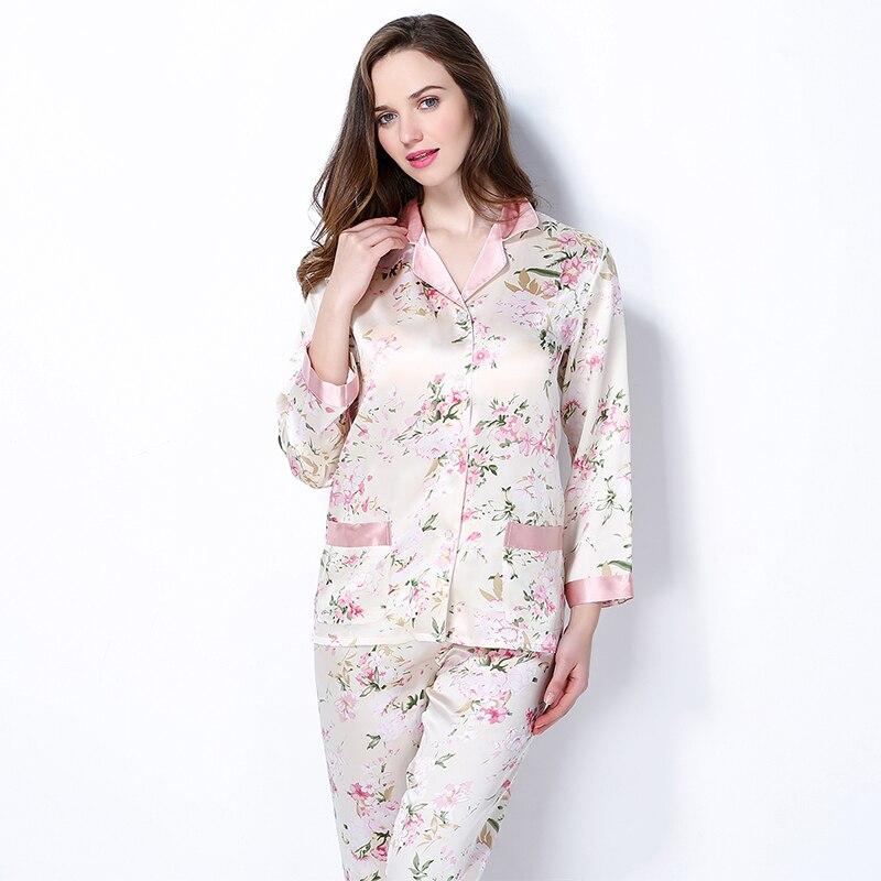 Nouveauté mode femme 100% Mulberry soie pyjamas ensemble femmes vêtements de nuit en soie printemps à manches longues 2 pièces ensembles soie pyjama ensembles