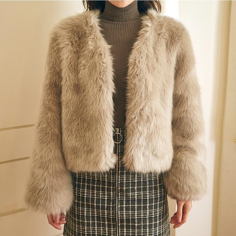 Renard Survêtement Cardigan De Épaississent Mode À Vestes Femmes Hiver Longues Manches Streetwear Fourrure Manteaux Faux Gris Court Z4xO77