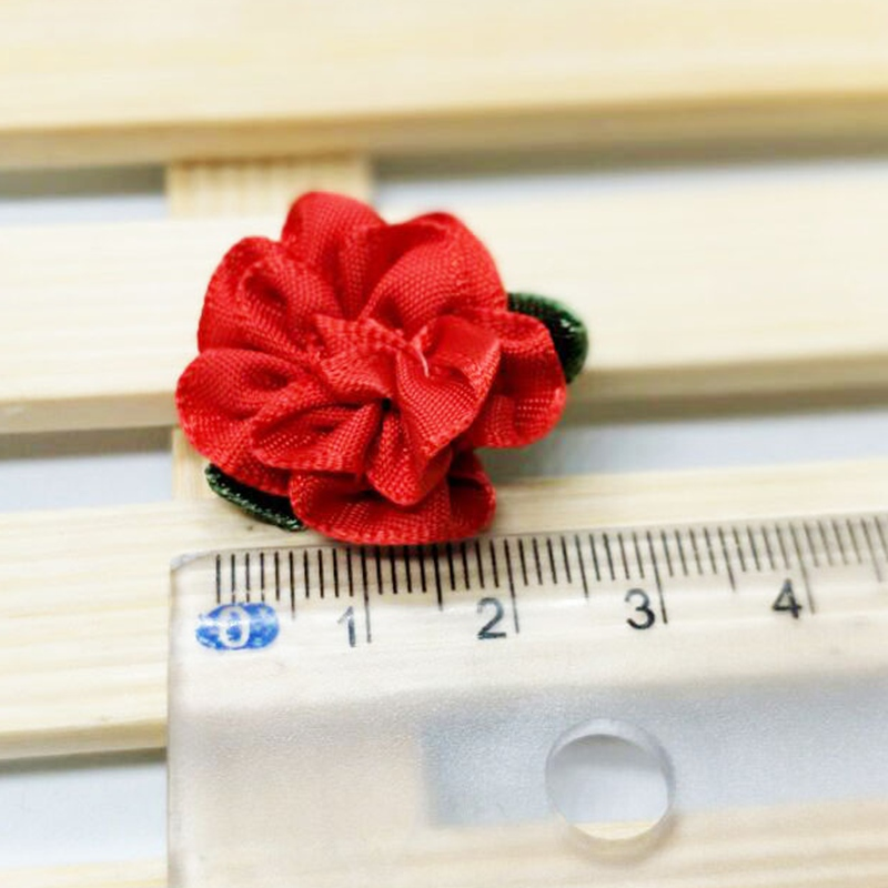 HL 30pcs With Leaf Red Ribbon Flowers Handmade Flowers Appliques Head Garment Wedding Decoration DIY Sewing Accessories A987 in DIY Craft Supplies from Home Garden