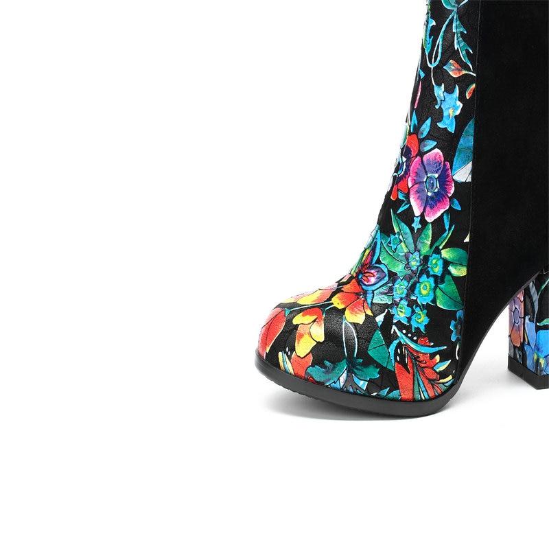 National Bottes Taille Femme Haute De Dames Hiver 43 Noir Gris Talons Grande gris Style Femmes Cheville Automne Mariage Noir Impression Chaussures gtWFXnqg