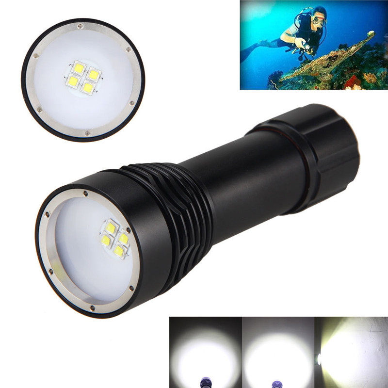 2018 8000LM 4x XML L2 LED Underwater 100M Scuba Diving Flashlight Torch 26650 Lamp Safety & Survival Z1025 super 8000lm 4x xml l2 led underwater 100m scuba diving flashlight torch 26650 lamp 170622