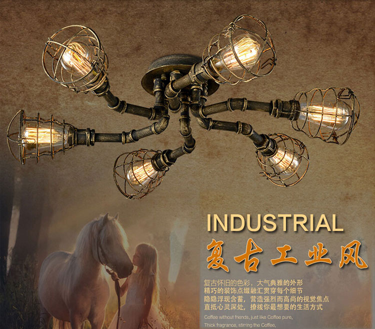 American retro style industrial loft ceiling light creative personality iron waterpipes Restaurant bar living room ceiling lamp цена