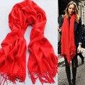 2016 корейских зима теплая женская чистый имитация кашемир бахромой красный шарф многоцветной дополнительно акриловый шарф 170 * 70 см