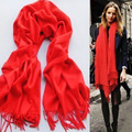 2016 Korean winter warm female pure Imitation of cashmere fringed shawl red scarf multicolor optional Acrylic scarf 170*70cm