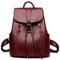 High Quality Leather Backpack Woman 2019 Summer Fashion Female Backpack String Bags Large Capacity School Bag Mochila Feminina