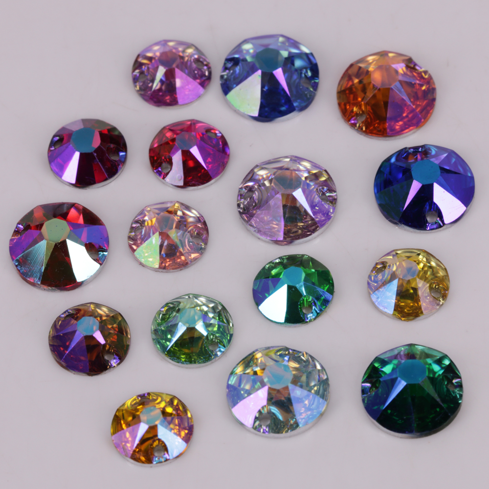 100pcs/Lot, Good Quality 8mm 10mm 12mm Colors AB Flat Back XIRIUS Round Resin Sew On Stones