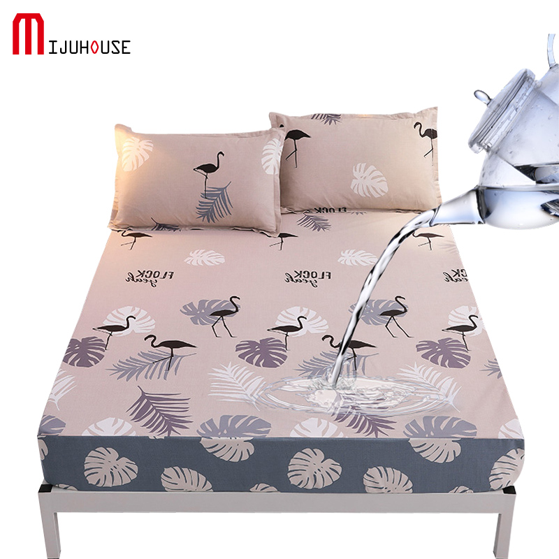 100% Cotton Waterproof Fitted Sheet Printed Modern Style Pads Sheet TUP Waterproof Layer Protective Cover Anti dirty Bed Sheet