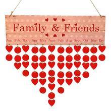 2018 Red DIY Wooden Calendar Family Friends Birthday Date Reminder Sign Board Planner Material Escolar Korean Hanging Decor
