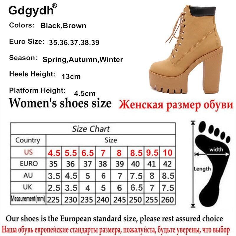 Gdgydh Mode Frühjahr Herbst Plattform Stiefeletten Frauen Lace Up Starke Ferse Plattform Stiefel Damen Arbeiter Stiefel Schwarz Große Größe 42  