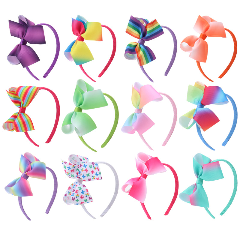 13pcs/lot Girls Rainbow Hairbands Accessories Hair Hoop Stripe Bow Hairbands Tiara Headband With Hair Bow For Kid Headwrap