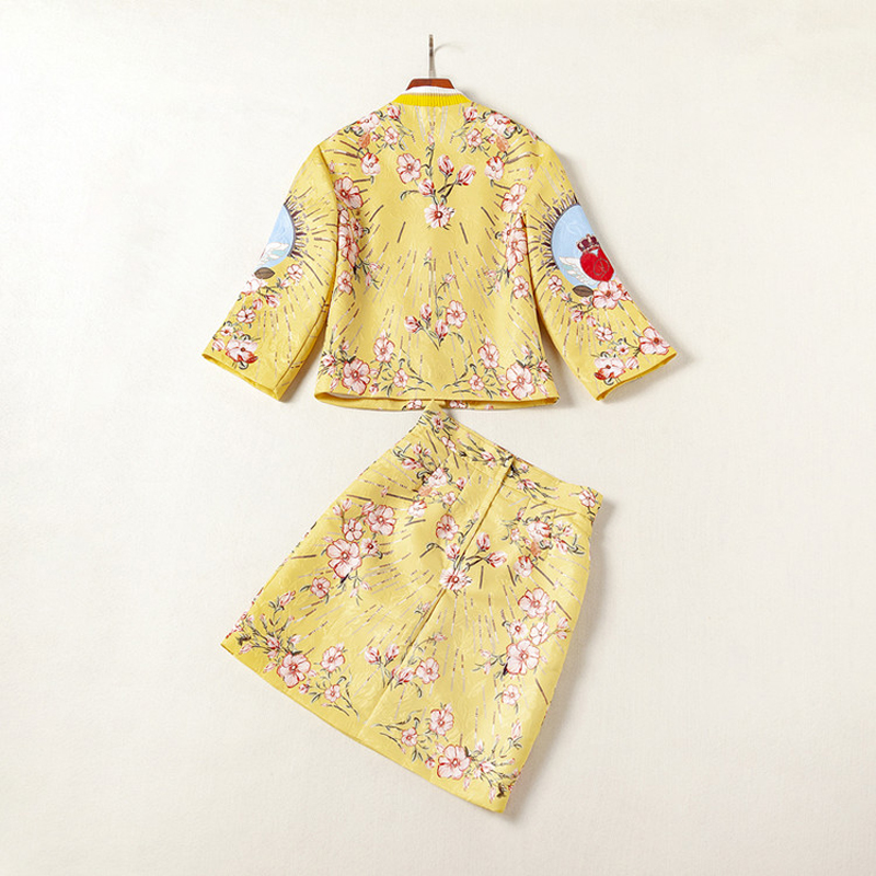 High Quality Sequined Jacquard Golden yellow Red heart print Button Fly short coat Above Knee, Mini Half skirt Women's Sets 2018 - 4