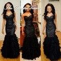 Роскошный черный блестками из бисера перо пром платья русалка вечерние платья длинное африканский стиль черный платье халат longué вечер