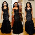 Luxury Black Sequined Beaded Feather Prom Dresses Mermaid Evening Gowns Long African Style Black Girl Dress Robe longue soiree