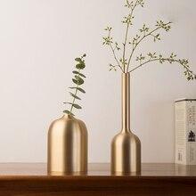 Creative copper vase Ornament jarrones decorativos moderno gold Crafts Small flower home decoration accessories