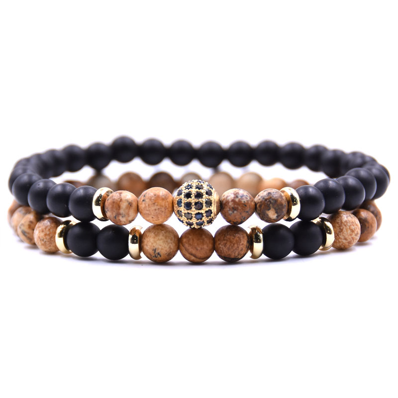 HYHONEY 2 pièce/ensembles pierre naturelle Bracelet hommes Micro pavé CZ 8mm Disco balle breloques Bracelets pour femmes hommes bijoux viking bijoux 3