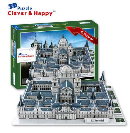 Candice guo 3D puzzle DIY đồ chơi giấy xây dựng mô hình lắp ráp tay làm việc trò chơi Monasterio de El Escorial Tây Ban Nha giáo hội nhà thờ 1 bộ