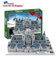Candice guo puzzle 3D giocattolo DIY edificio carta modello assemblare lavoro a mano gioco Monasterio de El Escorial Spagna chiesa cattedrale 1 set