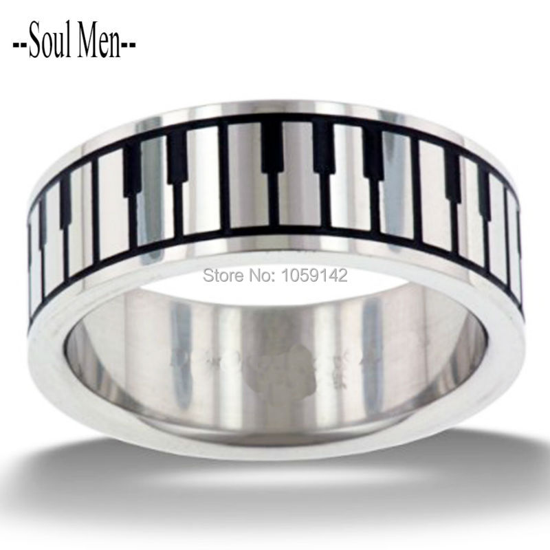 Top Quality Praise and Worship Stainless Steel Music Piano Keyboard Rings for Men Women Unique Wedding