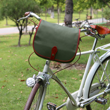 Tourbon Bicycle Handlebar Bag Messenger Bag Canvas Waterproof Repellent Bike Panniers for Cycling Green Color