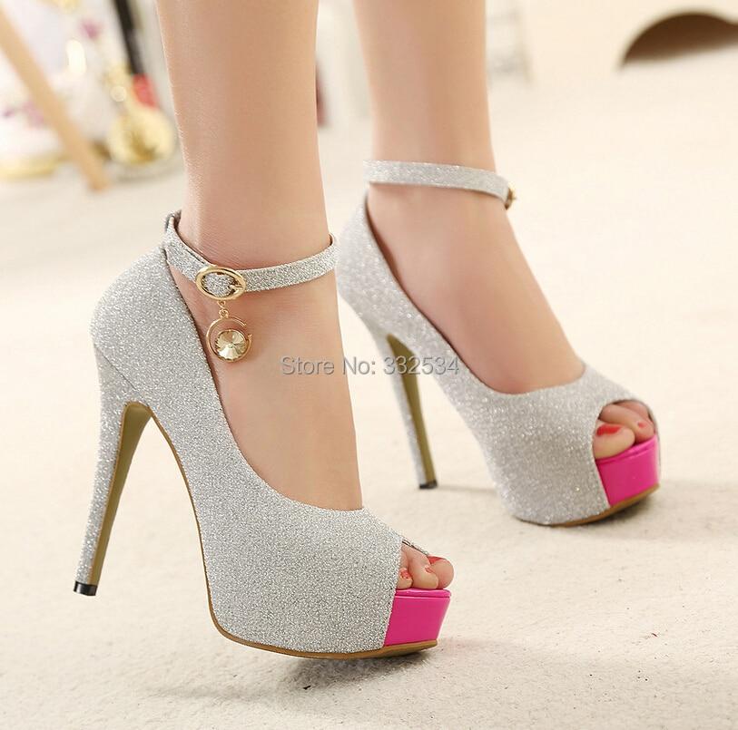2015 Summer Spring Sexy Platform 12cm High Heels Shoes Silver ...