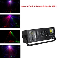 2019 New LED 4IN1 Laser Flash Gobo Strobe Butterfly Derby Light DMX512 Disco Dj Club Party Home Entertainment Stage Light Effect freeshipping 30 pack led colony stage effect light led white strobe combined with red green laser rgbwa rotating derby effect