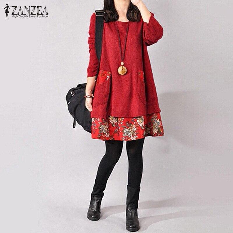 Zanzea 2019 outono inverno feminino vintage floral impressão vestido feminino casual solto manga comprida bolsos mini vestidos plus size 4xl