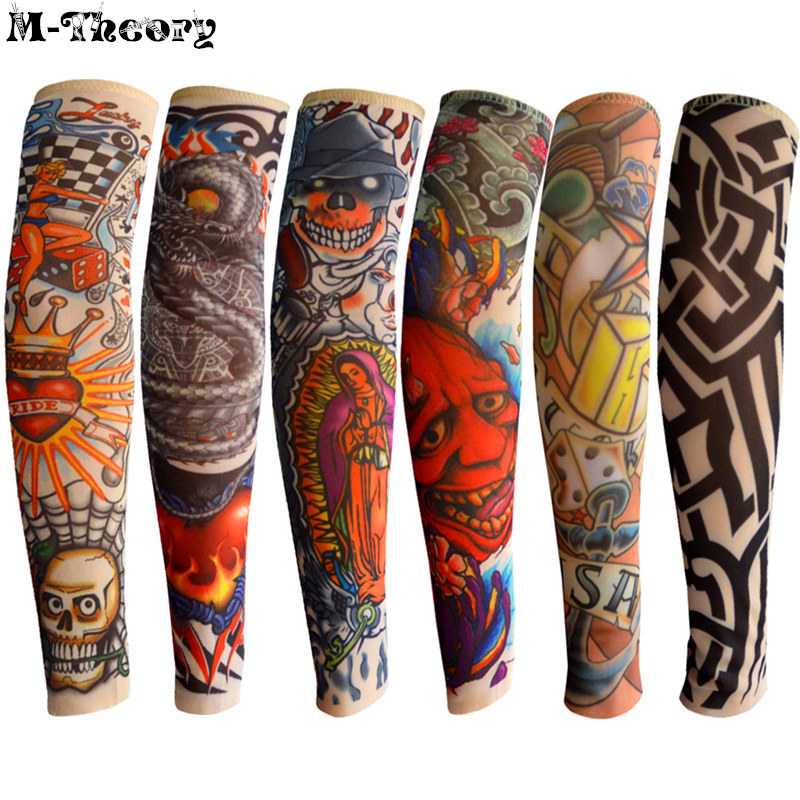 6 Pcs Kid Size Cool 3d Tattoo Sleeve Arm Stockings Leggings Elastic