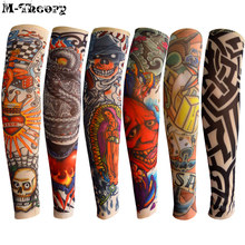 M-теория 6 шт. Размер Kid Cool 3D Tattoo Sleeve Arm Чулки Леггинсы Elastic Nylon Girls Boys Riding Hiking Wearings