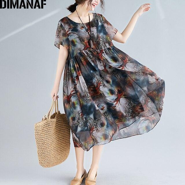 DIMANAF Plus Size Women Beach Dress Print Chiffon Vintage Elegant Lady Vestidos Summer Sundress Loose Casual Female Clothes 2019