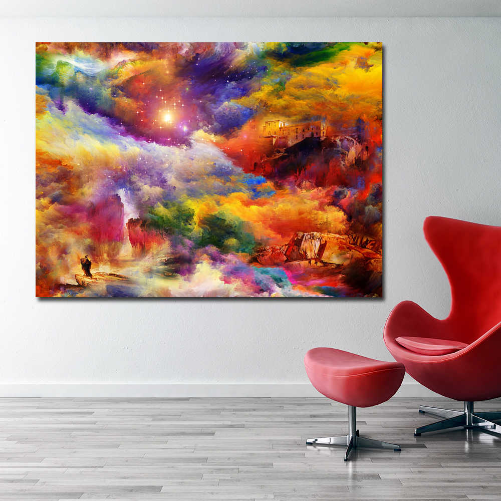 SELFLESSLY bright colors house rock art painting Poster Canvas Wall Art Print Painting Wall Pictures For Living Room Home Decor