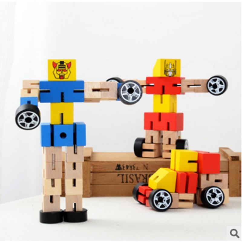 5pcs / lot 나무 버라이어티 로봇 DIY 조립 완구 어린이 조기 교육 장난감 변환 로봇 블록 완구 무작위 컬러