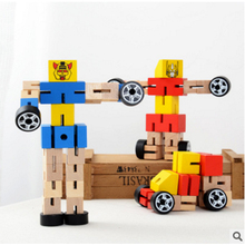 5pcs/lot Wooden Variety robots DIY Assembled Toys Children Early Education Toys Transformation Robot Blocks Toys Random Color