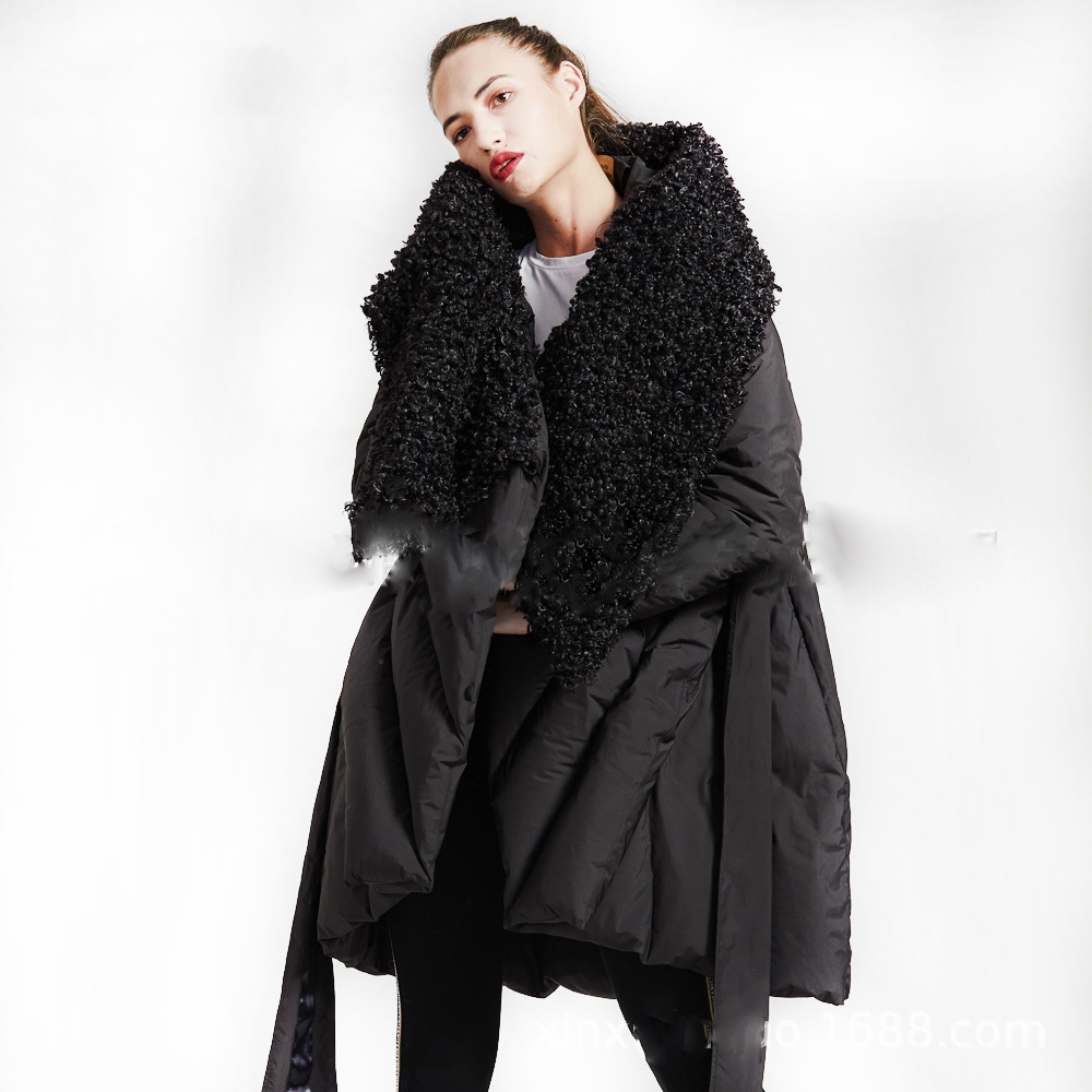 High Quality 2018 Winter Collection Women Hooded Long cloak Down Coat Female Winter Warm Asymmetric Length Thick Down Jacket