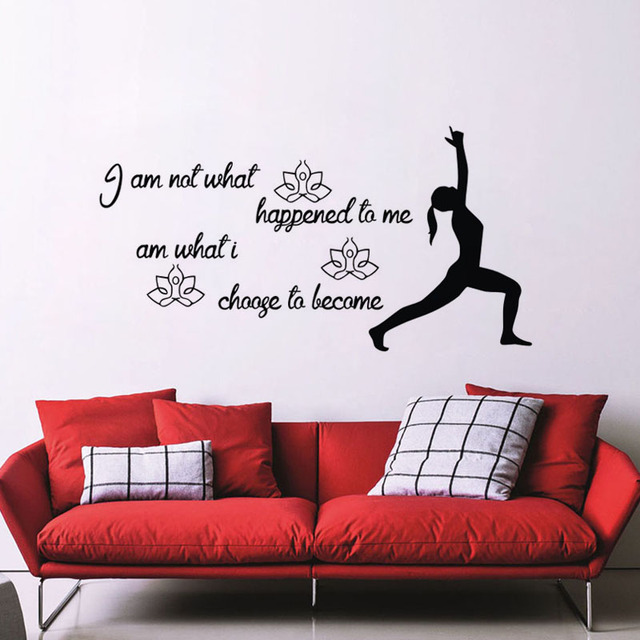 I Am Not What Happened To Me Quotes Wall Stickers Yoga Gymnast Wall Decor  Vinyl Adhesive