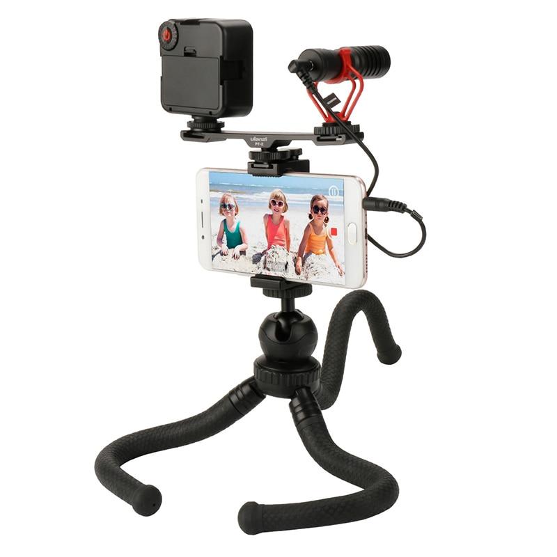 Ulanzi Facebook Livestream Gear w BY MM1 Microphone Led vidéo lumière Flexible trépied double chaussure froide pour iPhone Samsung vlog-in Accessoires pour studio photo from Electronique    1