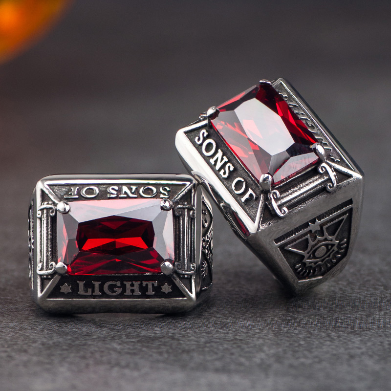 Free Mason with red Zircon Ring For Men High quality Four Prongs Setting Stainless steel Index Ring Jewelry цена