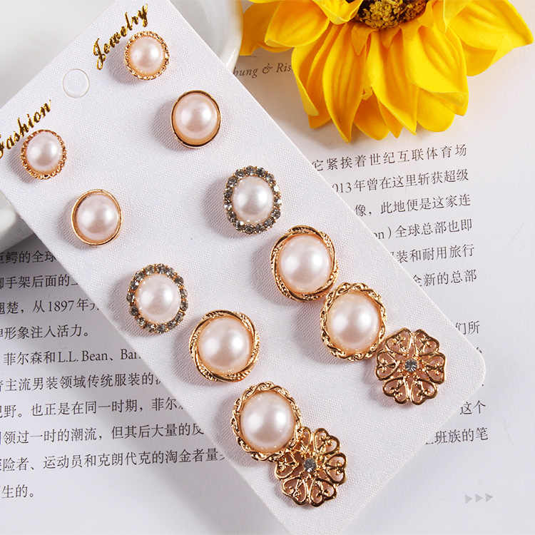 Hot Sale 6pcs/set Fashion Simulated-pearl Crystal Simple Round Flower Gold Color Stud Earring for Women Jewelry Brinco Oorbellen