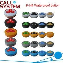 Красочные водонепроницаемый ресторан Беспроводная система вызова официантов кнопка вызова передатчик с 4-кнопочный(звонок; Для купюр; отменить; напиток