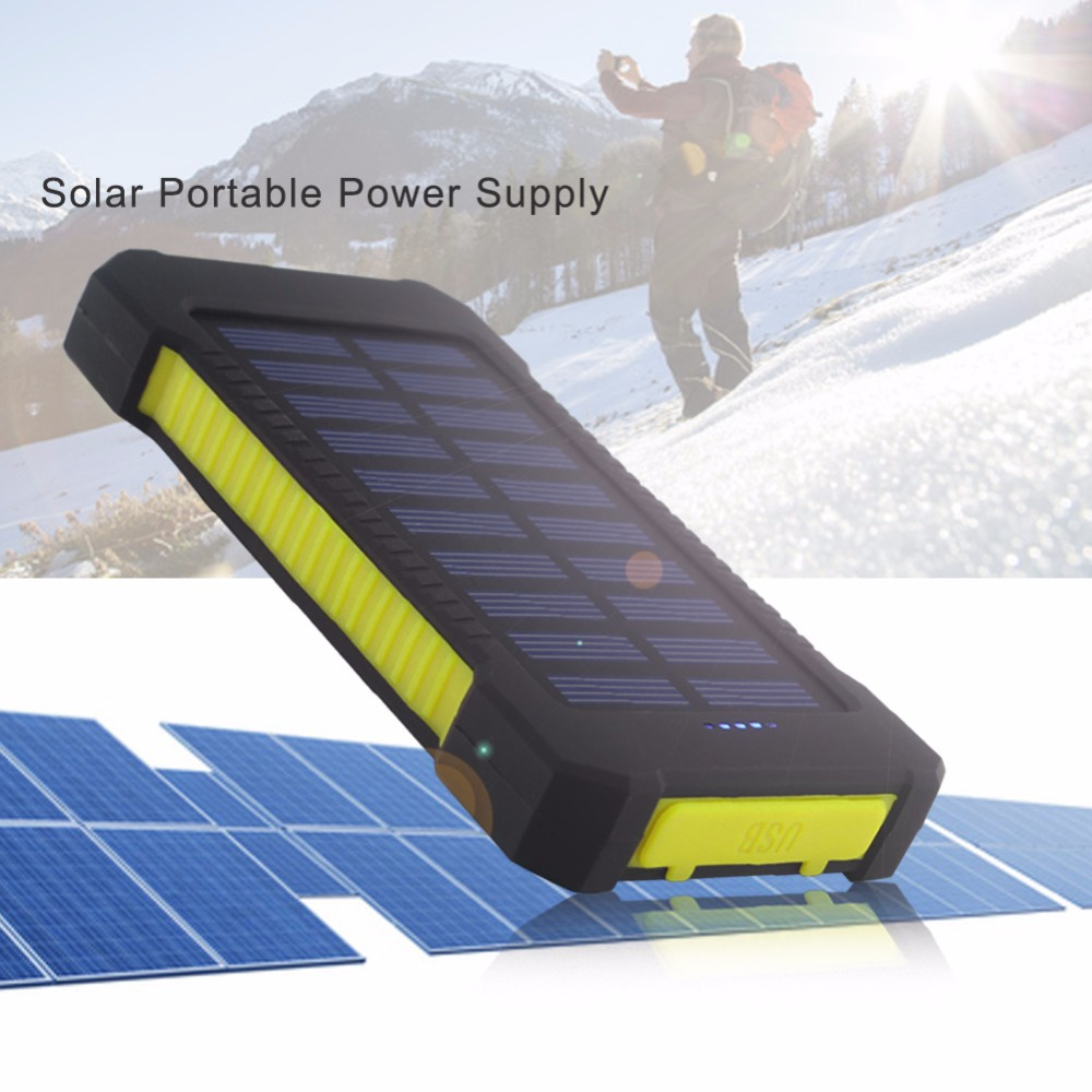 Solar Panel Portable Waterproof Power Bank 30000mah Dual-USB Solar Battery PowerbankPortable Cell Phone Charger xinpuguang solar panel charger 100w 9v 18v foldable portable black fabric waterproof power bank phone 12v battery dual usb 5v 2a