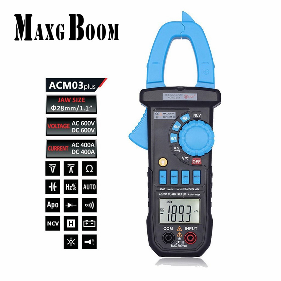 MaxgBoom Original Acm03 plus Auto Range Digital Clamp Meter Multimeter AC DC Current Voltage Hz Frequency Capacitance Tester
