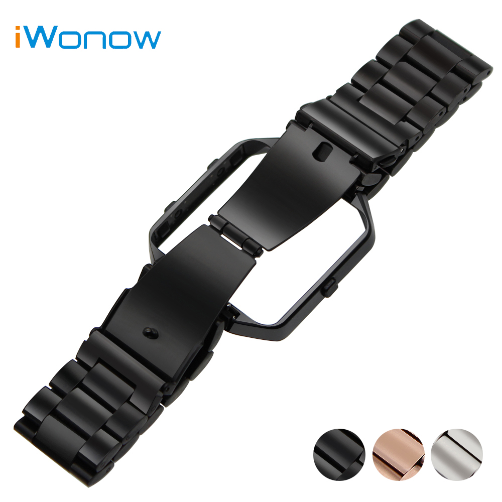 Stainless Steel Watchband 23mm for Fitbit Blaze Smart Fitness Watch Band with Metal Frame Wrist Strap Replacement Belt Bracelet carlywet 23mm black 316l stainless steel replacement watch strap belt bracelet with case metal frame for fitbit blaze 23 watch