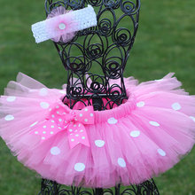 Girls Pink Tutu Skirts Baby Handmade Tulle Pettiskirt with White Dots Bow and Fl