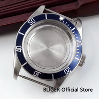 Bliger 41mm blue alloy bezel stainless steel case Sapphire glass fit Miyota 8215 movement watch case C41B|Watch Faces| |  -