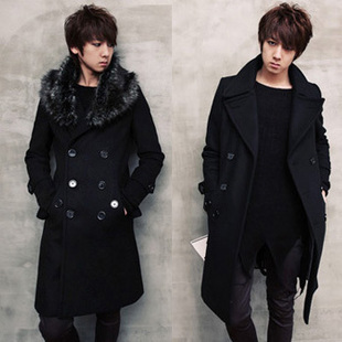 Men 39 S Clothing Spring Fashion Korea Style Male Slim Fur Collar Outerwear Double Breasted Pea