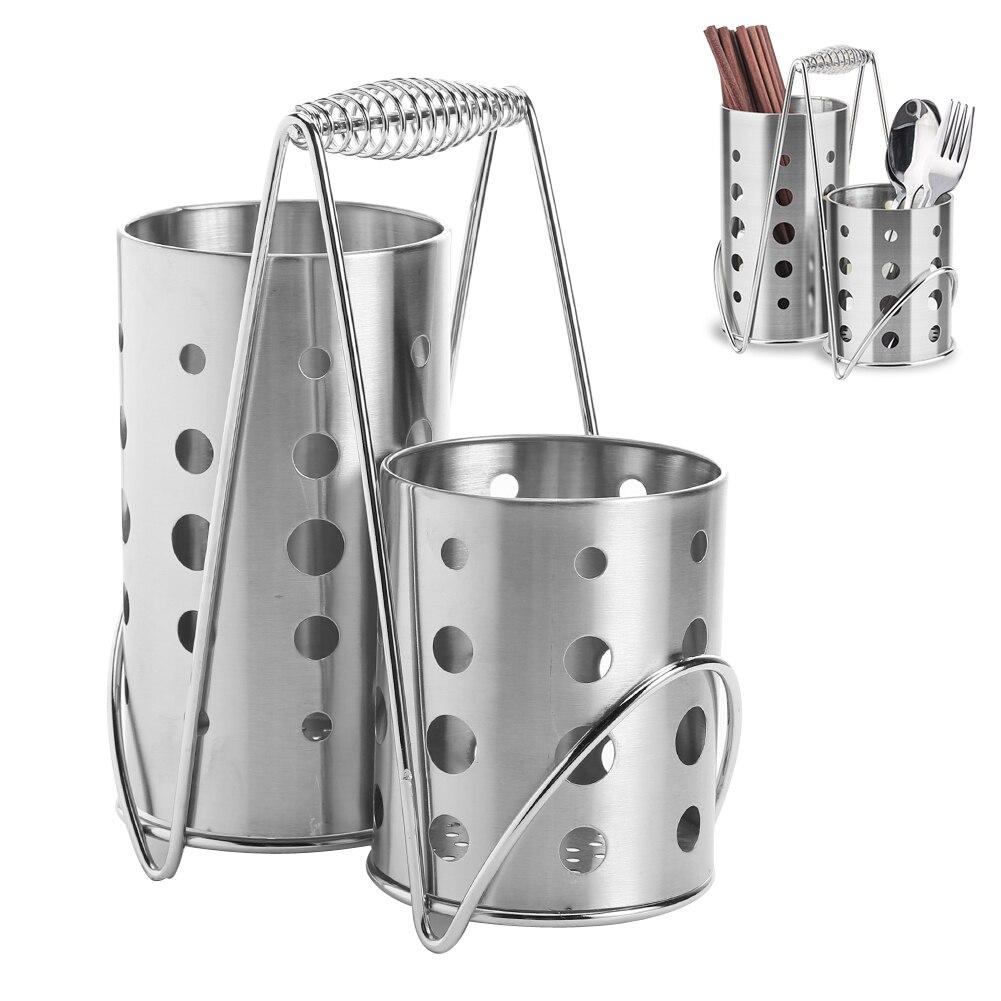 Acero inoxidable Palillos jaula tubo caja de almacenamiento cocina estante de drenaje Utensilios organizador cuchillería escurridor titular