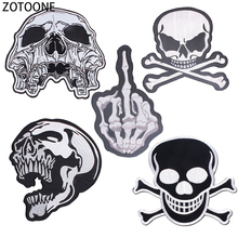 ZOTOONE Punk Skull Patches for Clothing Simple Style Diy Large Back Stickers Sewing on Clothes Badges Applications Jackets E