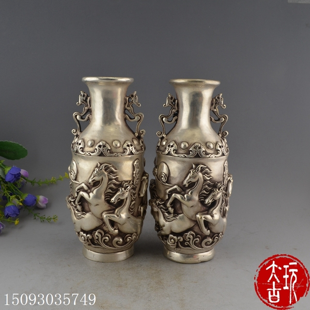 Bronze Sculpture White Copper Plated Silver Feng Shui Decoration Business Crafts Gifts Horse Vases Inserted Vases Decoration In Statues Sculptures