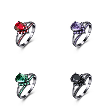 Fashion Waterdrop  Zircon Rings for Women Gun Black Plating  Crystal Party Wedding Finger Ring Accessorise Jewelry