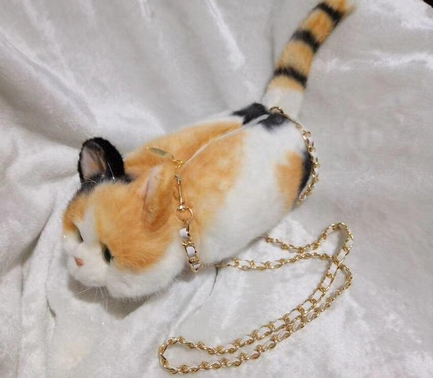 Cartoon cute cat  shape  purse fashion creative Messenger chain bag portable 3D wallet  plush material A4636 plush electric water bag creative cute