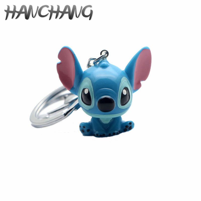 Cartoon OHANA Figure Keychain Cute Ohana Friendship Lilo Stitch 3D PVC Pendant Keyring Kawaii Family Women Girls Jewelry